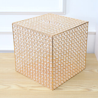 Gold Crystal Bead Wishing Well Money Gift Card Box