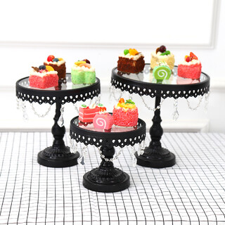 3PC Black Wedding Metal And Glass Lace Cupcake Cake Stand With Crystal Pendant Chain