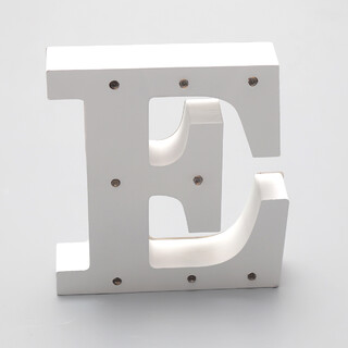 'E'  White Alphabet Wooden Letter LED Sign Light