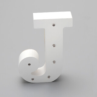 'J'  White Alphabet Wooden Letter LED Sign Light
