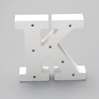 'K'  White Alphabet Wooden Letter LED Sign Light