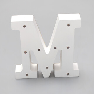 'M'  White Alphabet Wooden Letter LED Sign Light