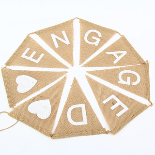 ENGAGED Flag Vintage Hessian Burlap Butting Banner Engagement Party Decor
