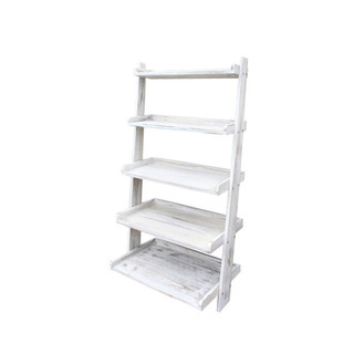 BN Wooden White Garden 5 Tier Shelf Plant Pot Rack Stand