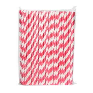 100 x Pink and White Stripe Paper Drinking Straw Wedding Party Supplies