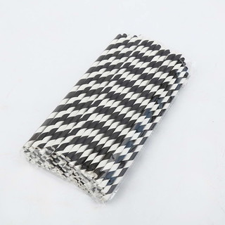 100 x Black and White Stripe Paper Drinking Straw Wedding Party Supplies