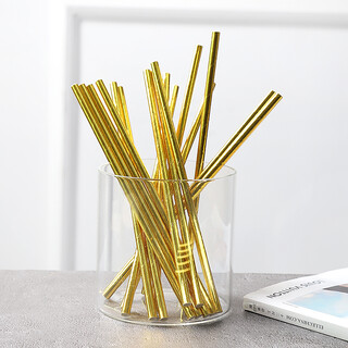 100 x Gold Paper Drinking Straw Wedding Party Supplies