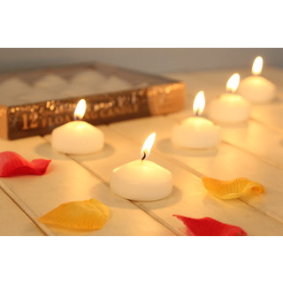 120 x Pure White Scented Floating Water Candles Wedding Decoration Centrepiece