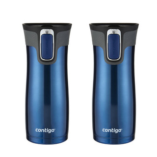 2 X Contigo 473ml West Loop Autoseal Mug MONACO BLUE