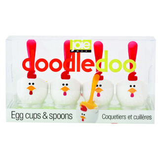 Joie MSC Set of 4 Doodel Doo Egg Cup and Spoon