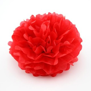 "10 X 8"" Red Tissue Paper Ball Pom Poms"